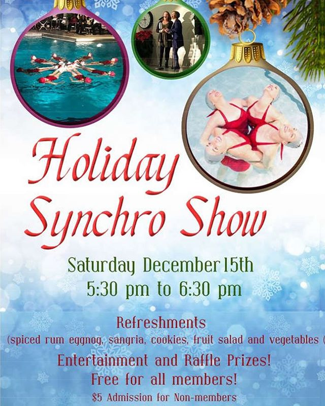 It's almost show time!!! We hope to see you all at our annual holiday show. 🧜🏻‍♀️👯‍♀️Filled with a sparkly suits and spiked eggnog! 💎🤩 #synchronizedswimming #synchro #artisticswimming