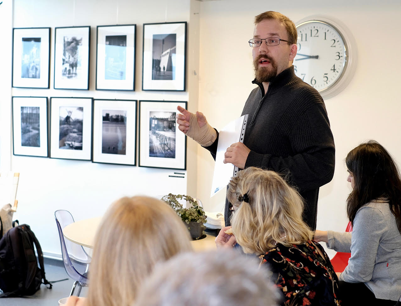 Me talking about the exhibition. Photo by Monica Grönlund