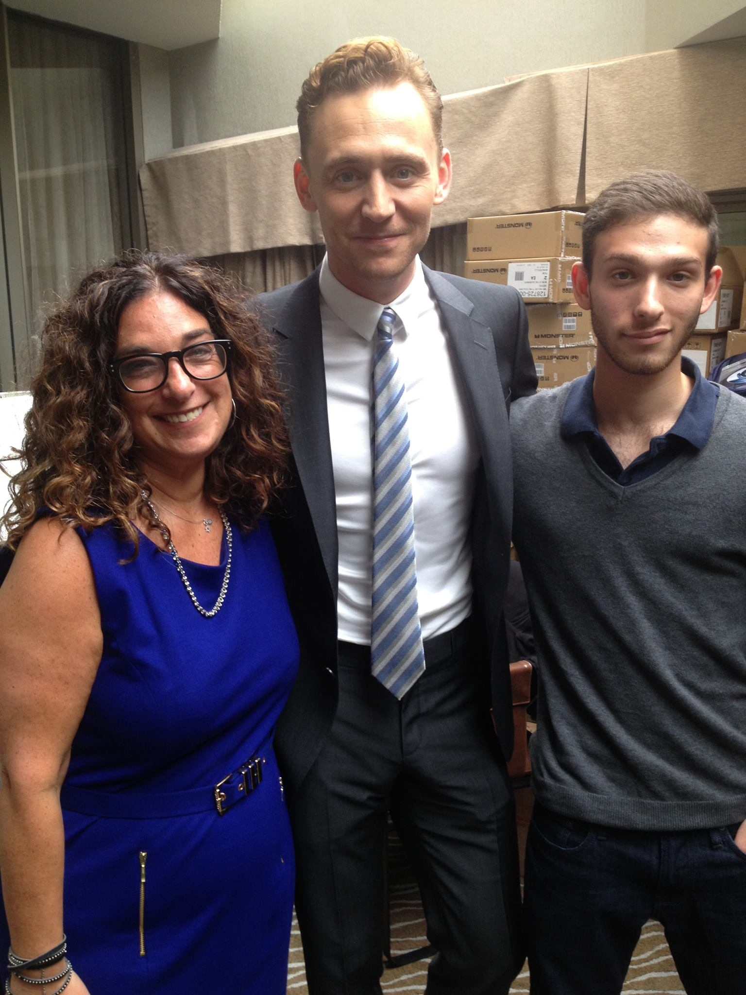 With the always lovely Tom HIddleston and my son, Jared