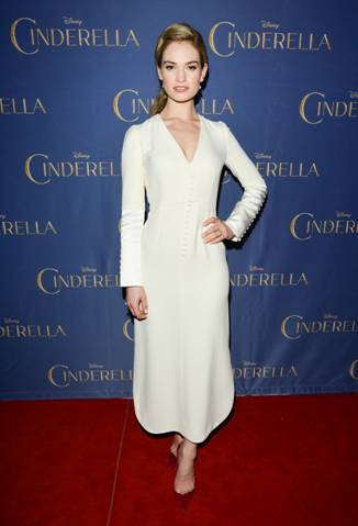"Lily James (in Dior with Aquazzura shoes and Olympia leTan bag), star of the highly-anticipated, critically-acclaimed ""CINDERELLA,"" delighted audiences at a screening of the film at Scotiabank Theatre in Toronto, on the latest stop of the film's worldwide tour."