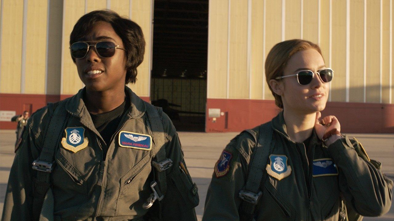 Lashana Lynch and Brie Larson in, Captain Marvel