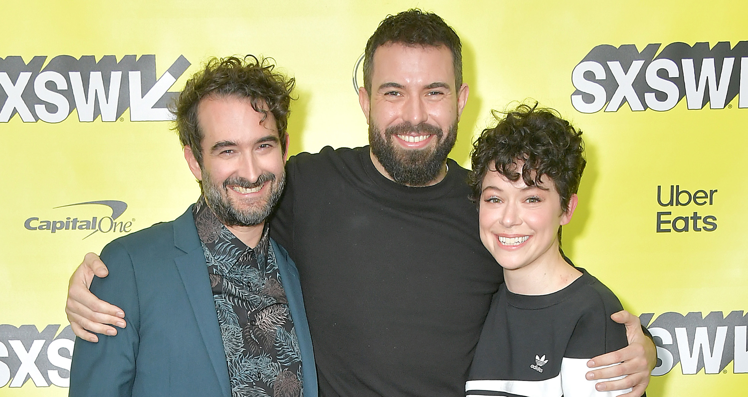 "Jay Duplass, Tom Cullen and Tatiana Maslany promoting ""Pink Wall"" at SXSW"