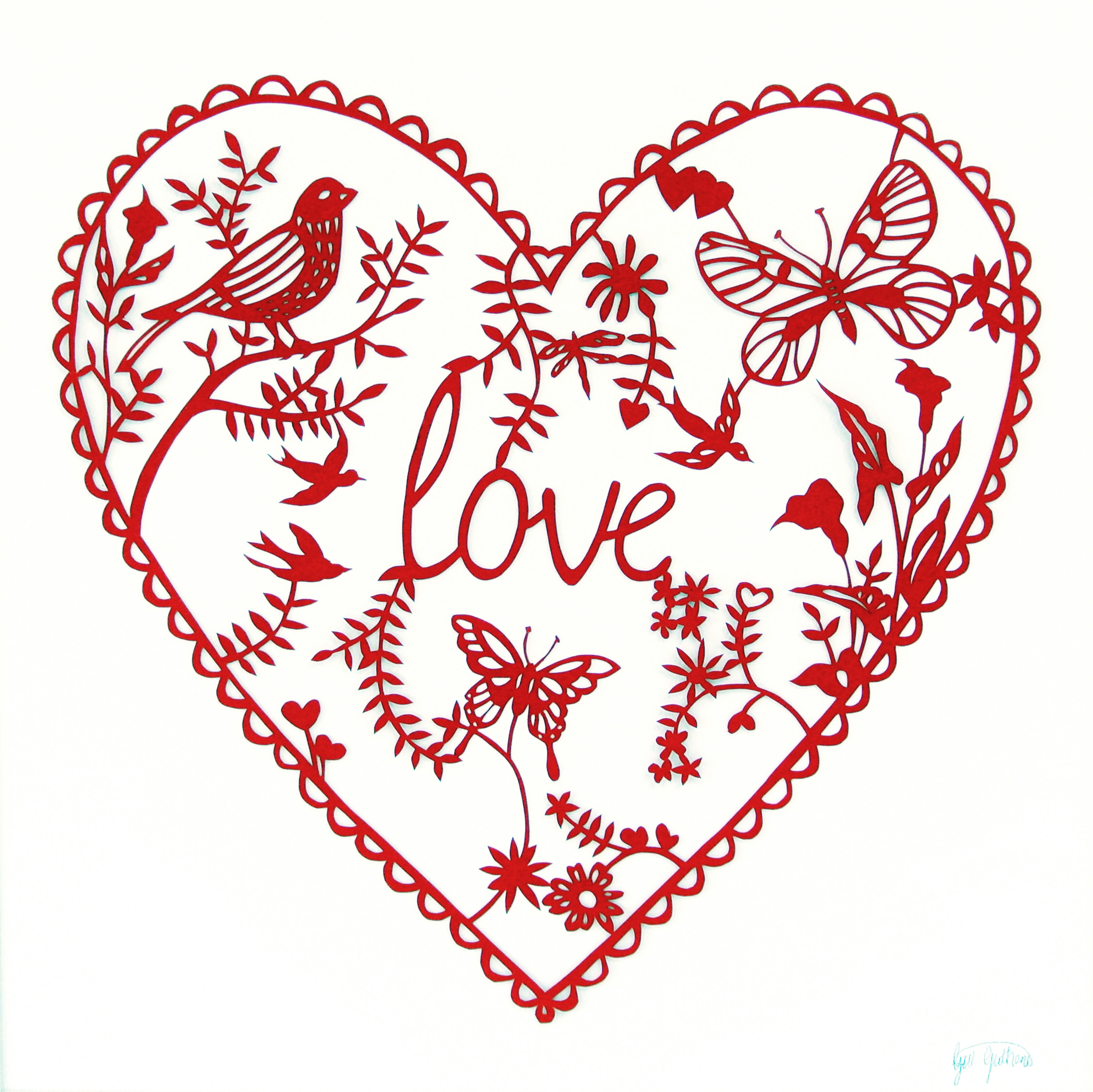 Red Love £250 | Canford paper on watercolour paper |50cm x 50cm