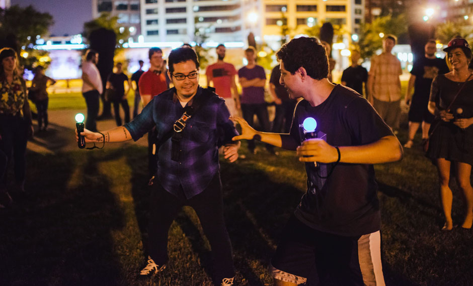 Johann Sebastian Joust      is a no-graphics,  digitally-enabled playground game designed for motion controllers.