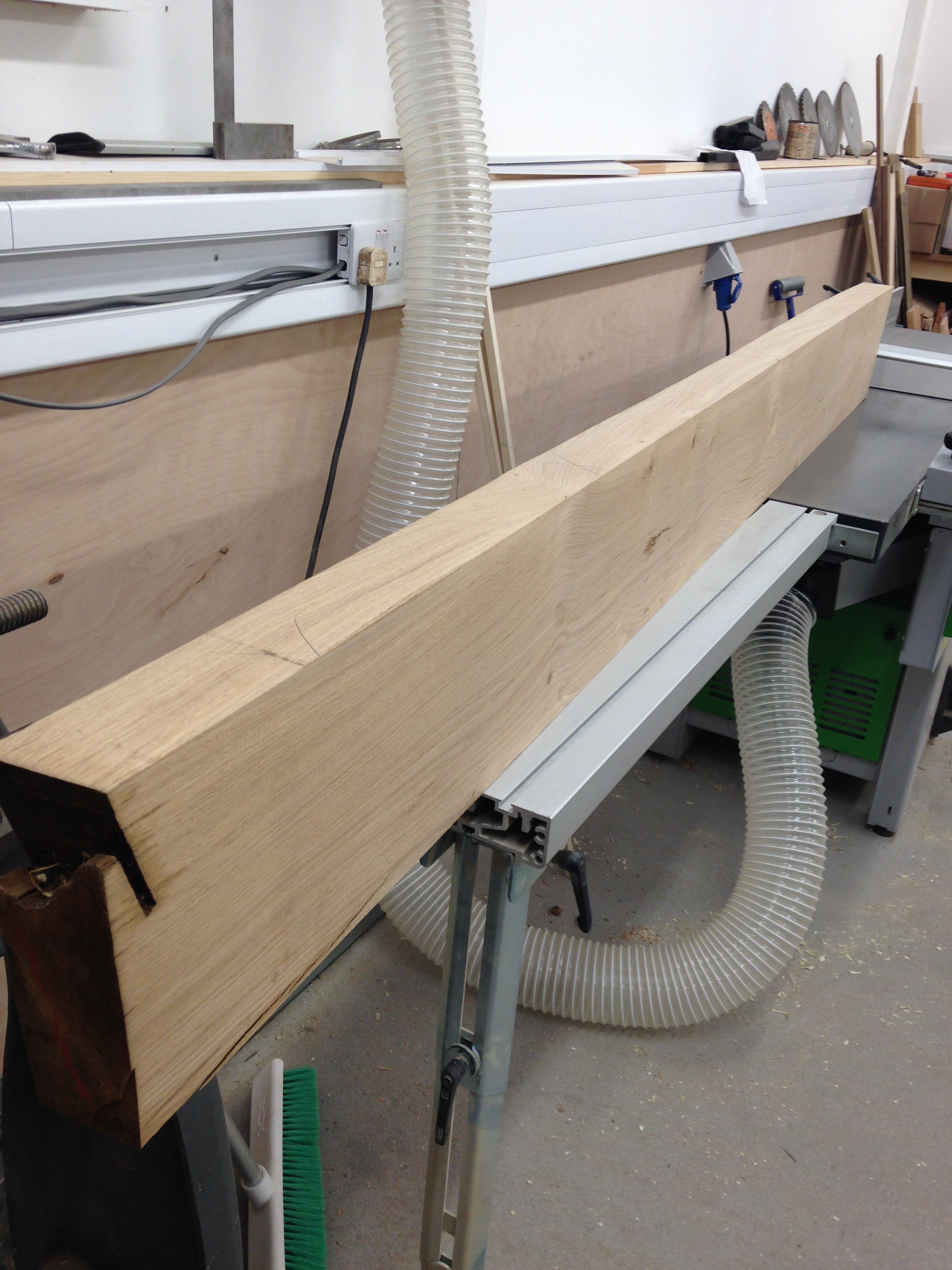 You never really know what you have got until you scratch the surface...my how pleased we were! This was one of the five boards that goes on to make the top of the table, each board is planed square and then cut to size, we must have lifted each a100 times.