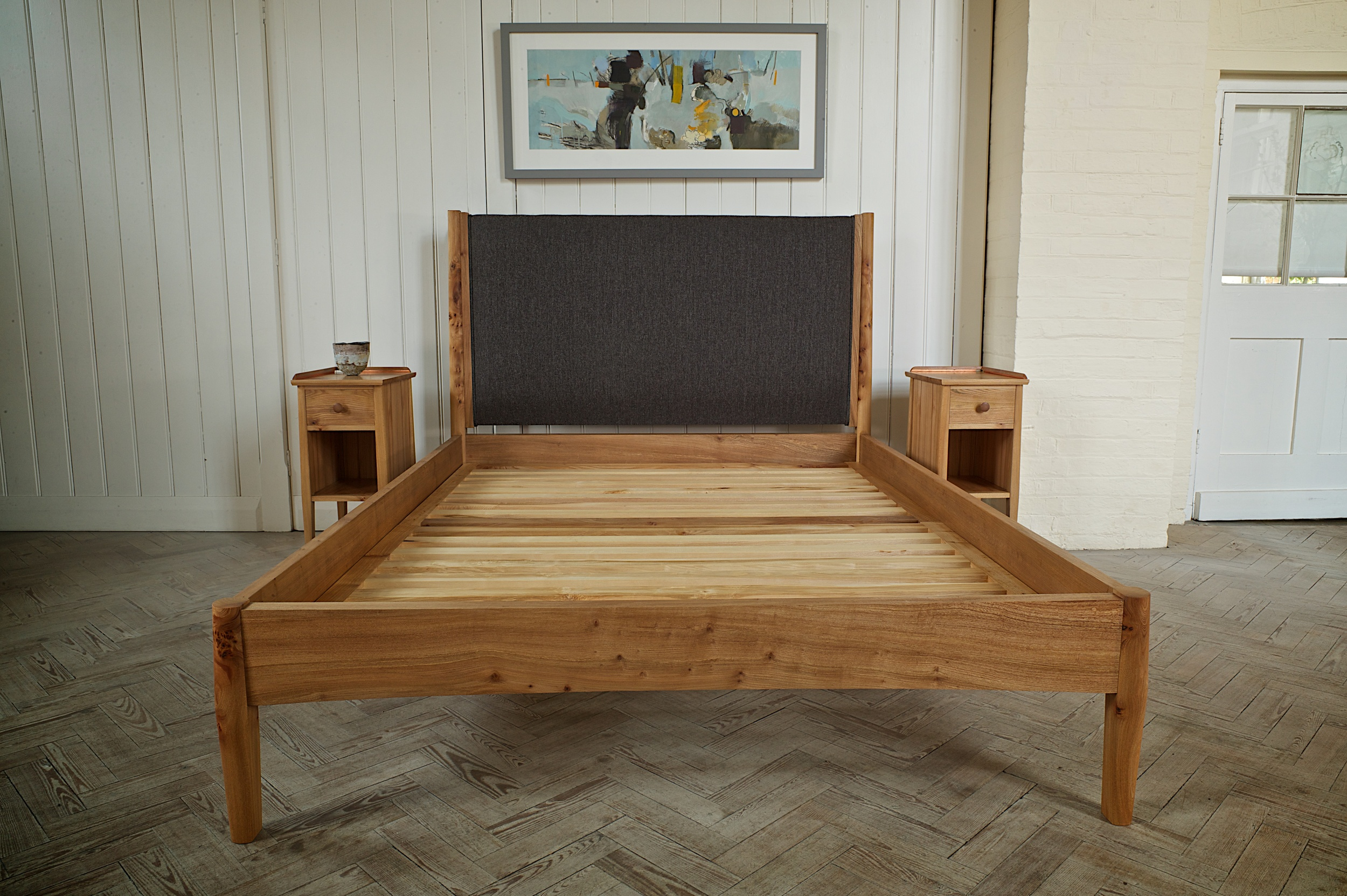 Bed and side tables in majestic elm