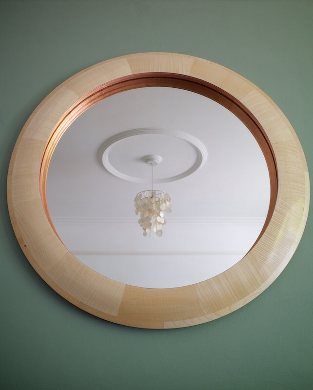Mirror in ripple sycamore and copper leaf