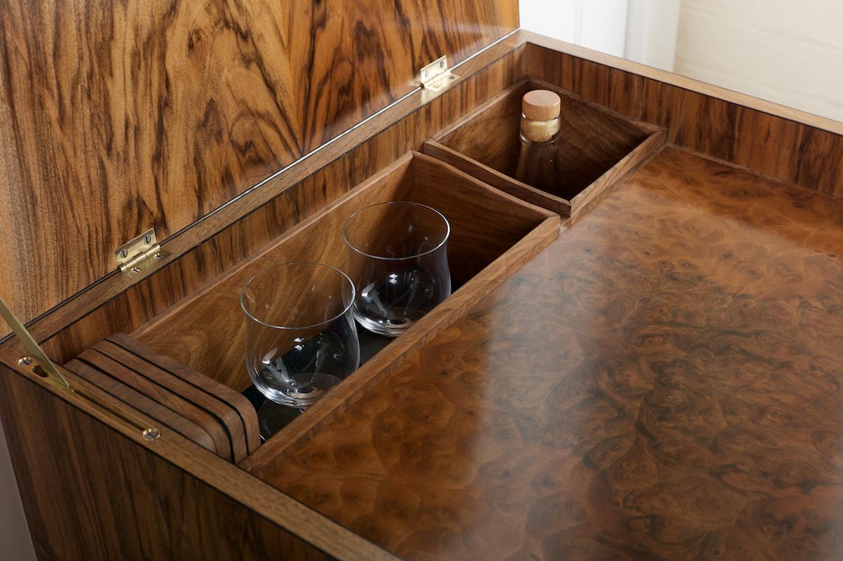 English walnut whisky cabinet detail