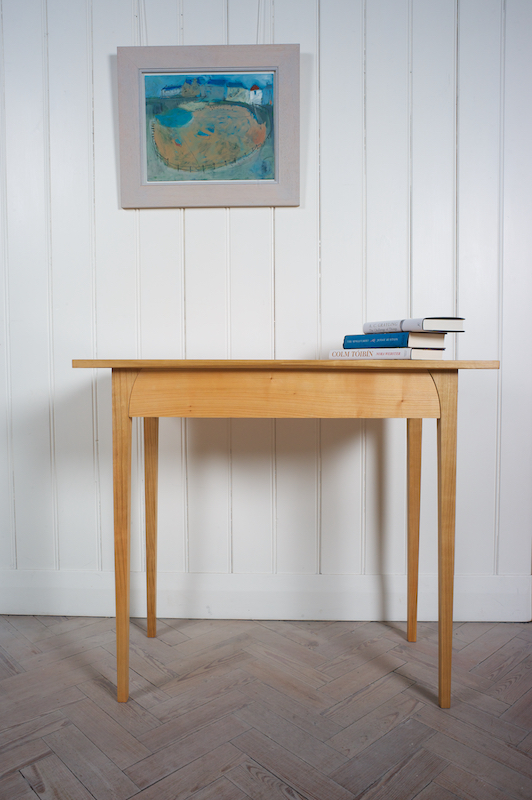 Petrel Furniture prototype console table in English Cherry with curved leg