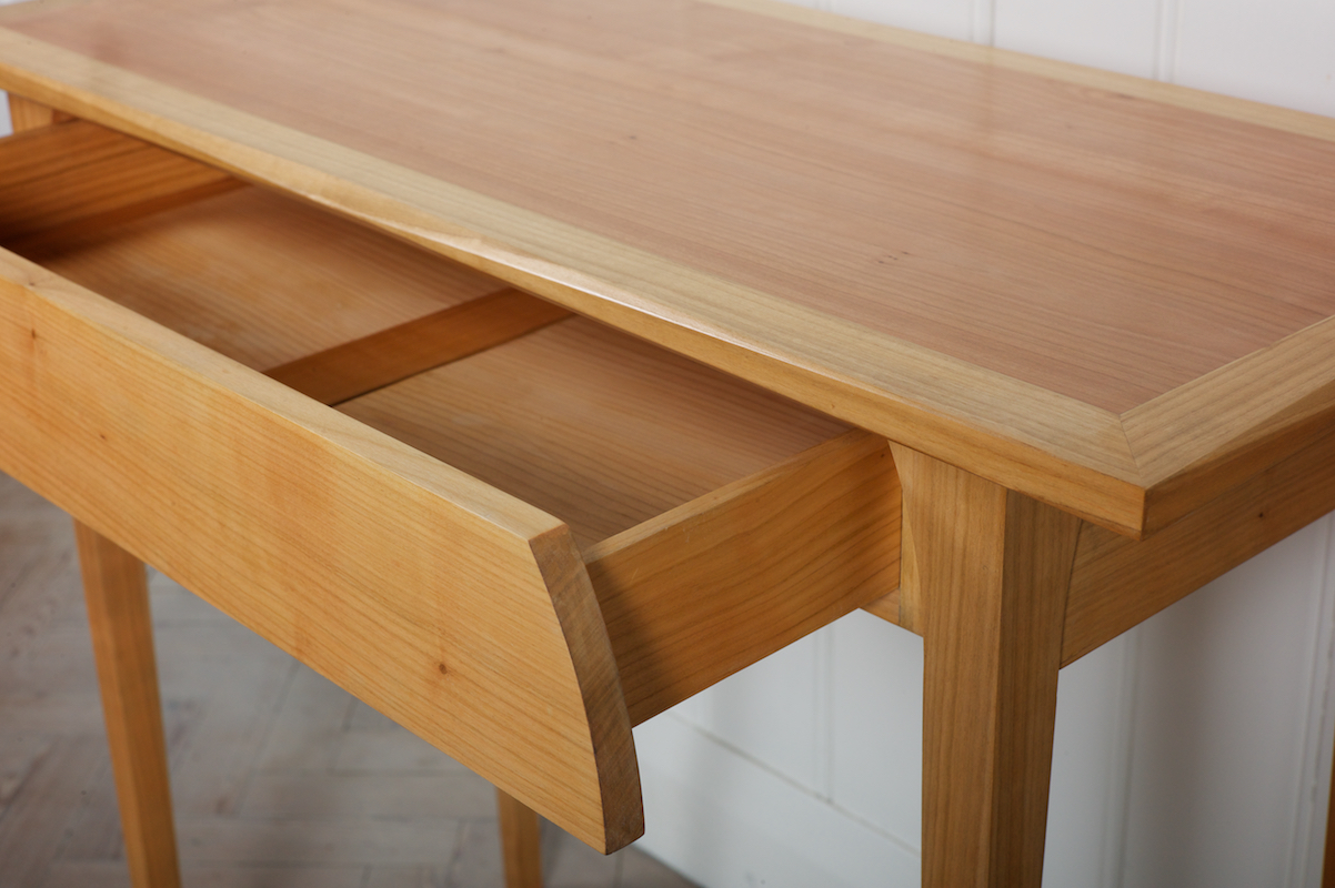 Petrel Furniture Prototype console table, drawer detail in cedar of lebanon