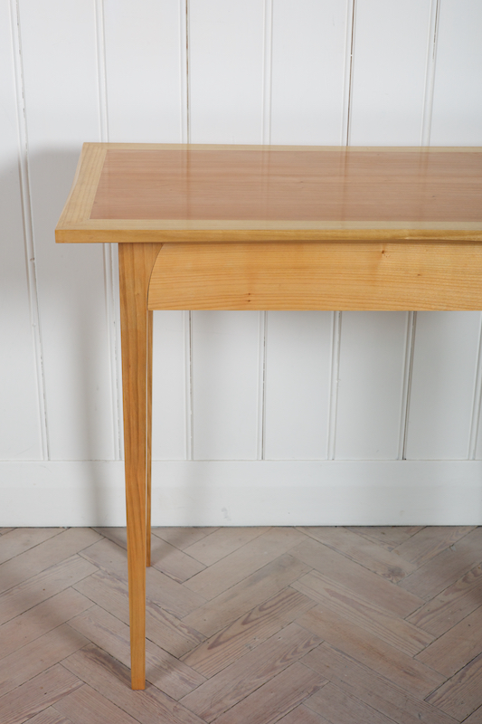 Petrel Furniture cherry console table prototype, leg and curve detail