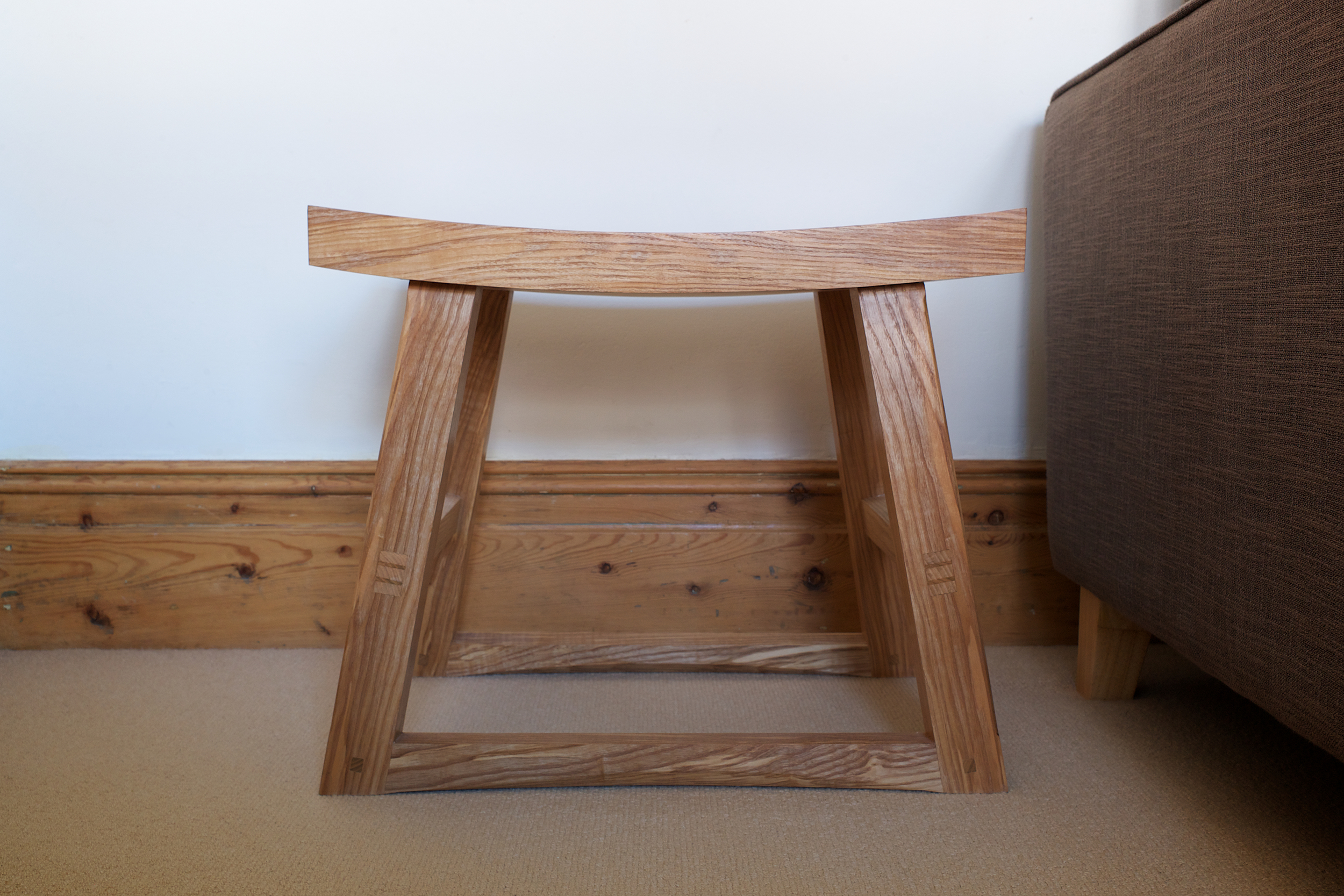 handmade petrel furniture stool, olive ash