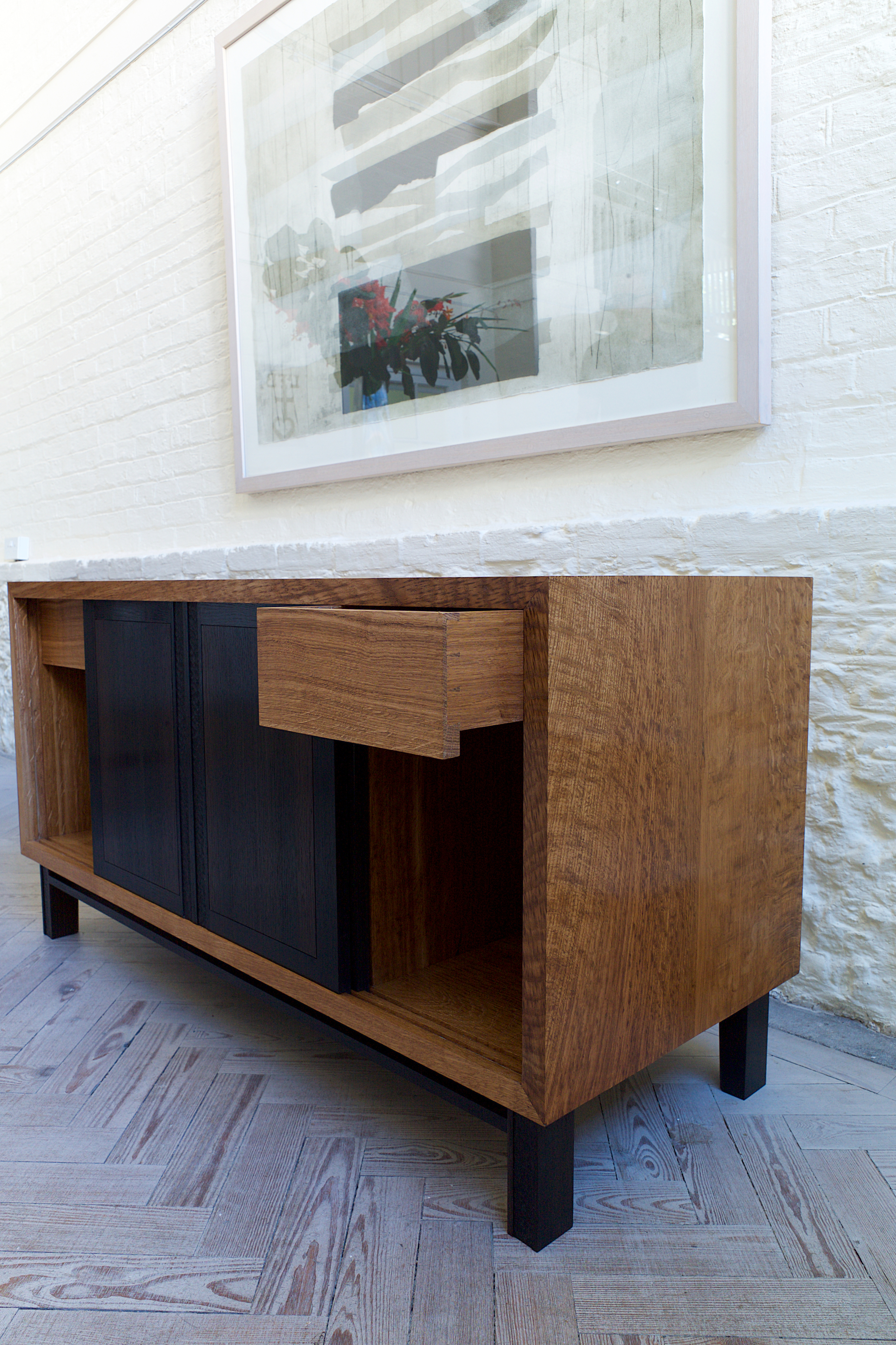 fine english brown oak cabinet with 4,000 year old bog oak from the Cambridgeshire fens