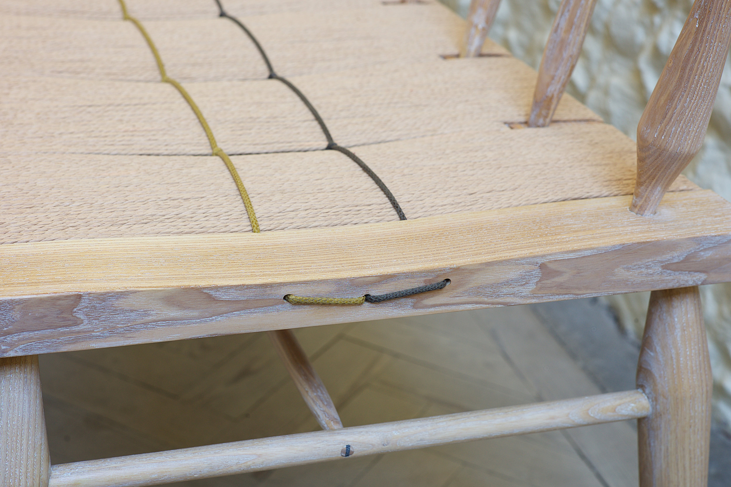 petrel furniture woven bench, waxed cord detail