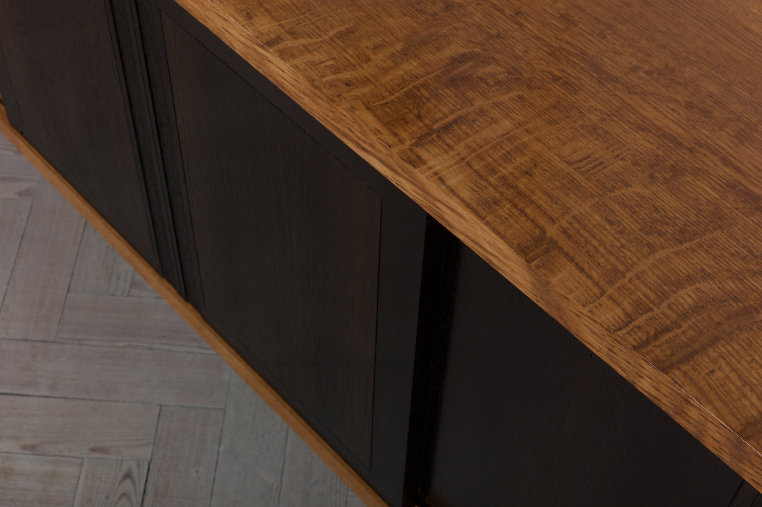 Petrel furniture sideboard in English brown oak and bog oak