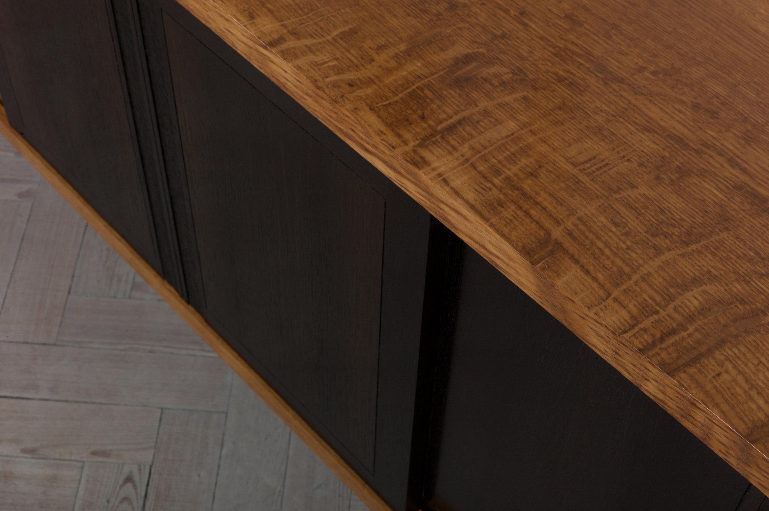 Petrel furniture sideboard in English brown oak and bog oak