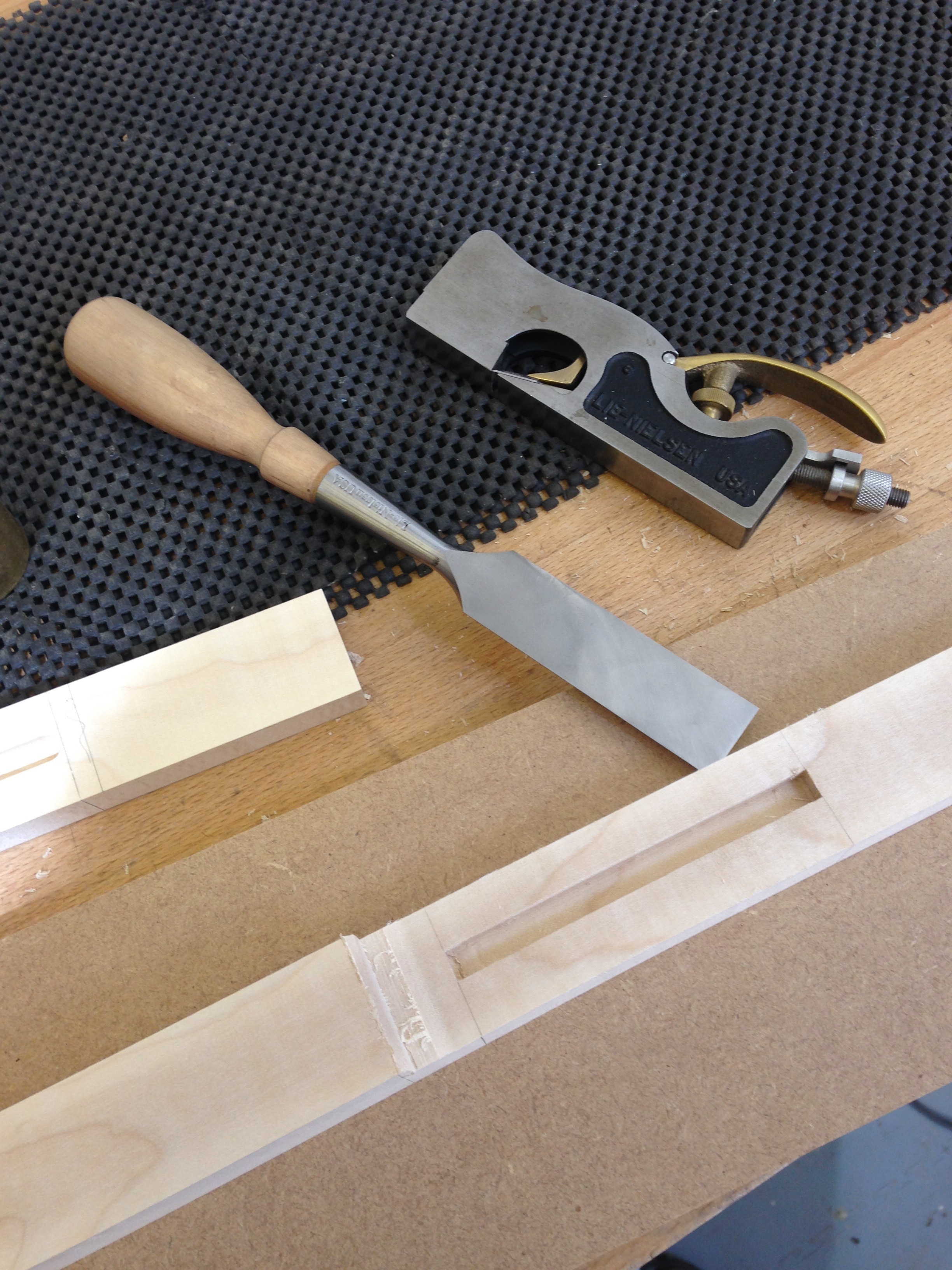 Hand tools used to cut the mortise and lip