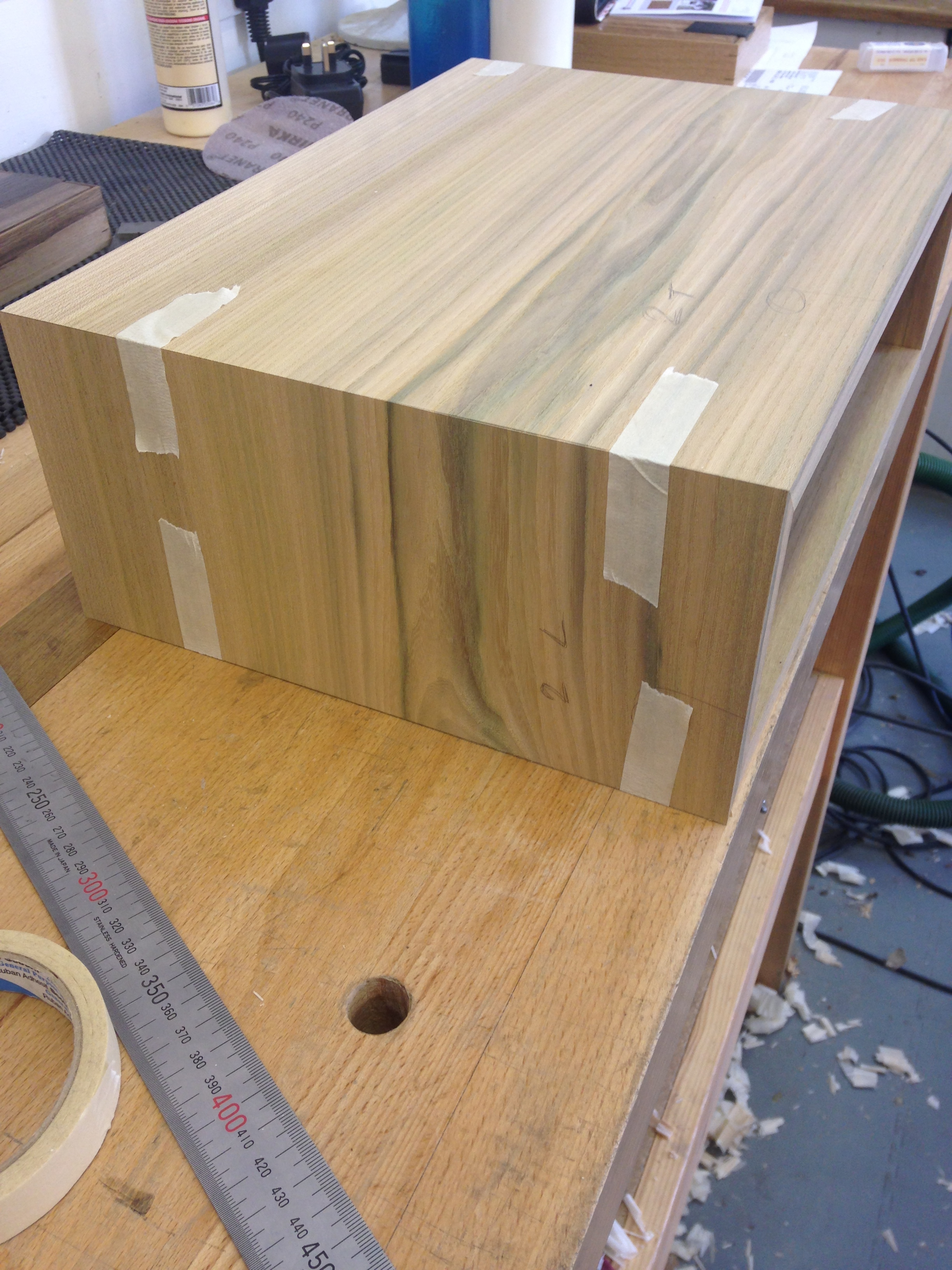 Elm is machined to 17mm thickness and mitred