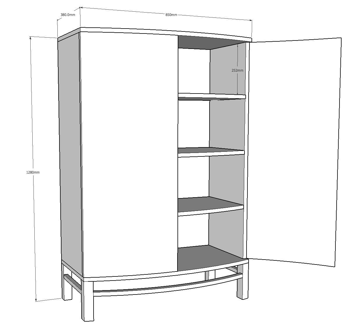 three curved shelves 25cm high