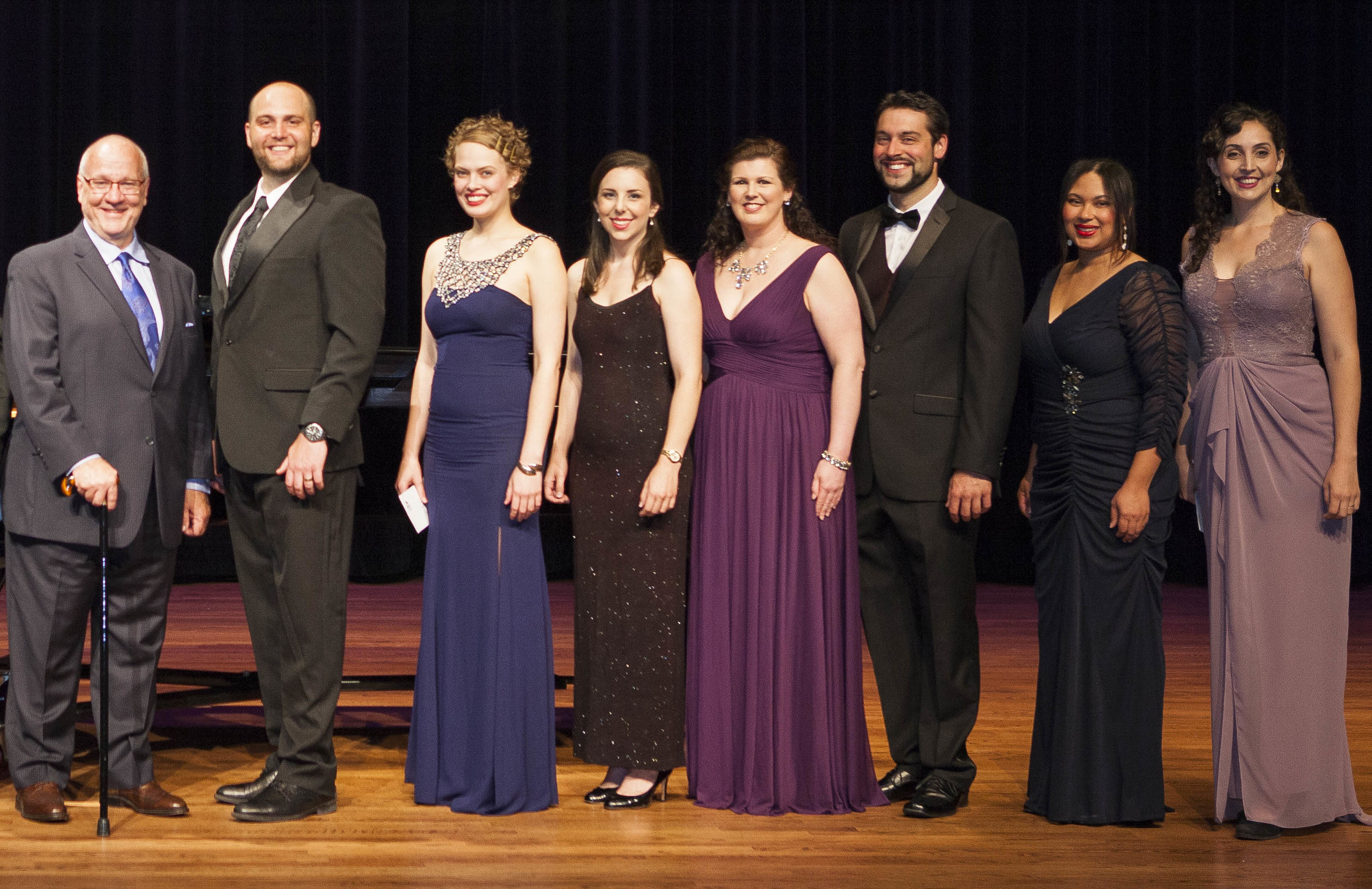 JAMES TOLAND WITH TIER I FINALISTS (L-R) BRENT TURNER, EMMA MCNAIRY, SARA LEMESH, ELIZABETH BALDWIN, JASON DUIKA, JENNIFER LINDSAY AND CLARISSA LYONS