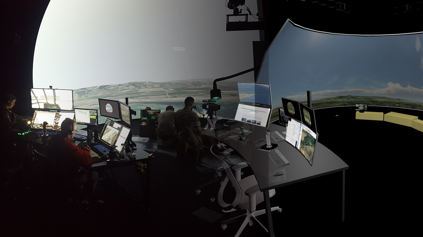 CAVE, Combined Arms Virtual Environment is a training system installed by Battlespace Simulations, Inc.  Click here for more information.