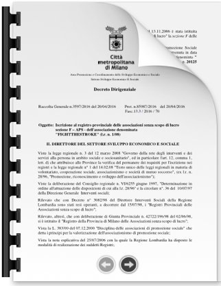 DOCUMENTO DI REGISTRAZIONE PROVINCIA APS #623