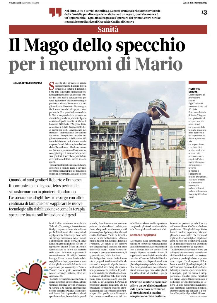 Corriere della Sera - Buone Notizie - 24 Settembre 2018