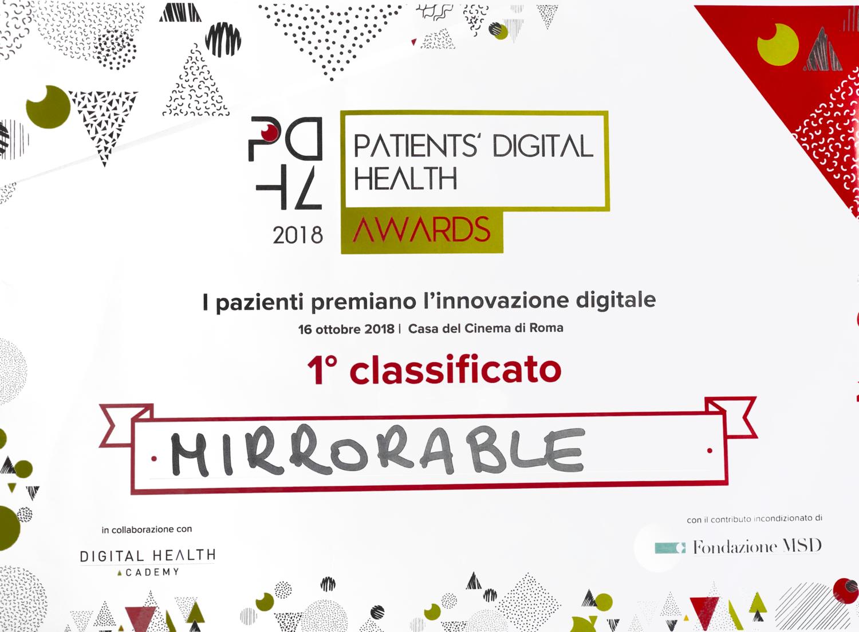 Patient's digital health award - 1° Classificato