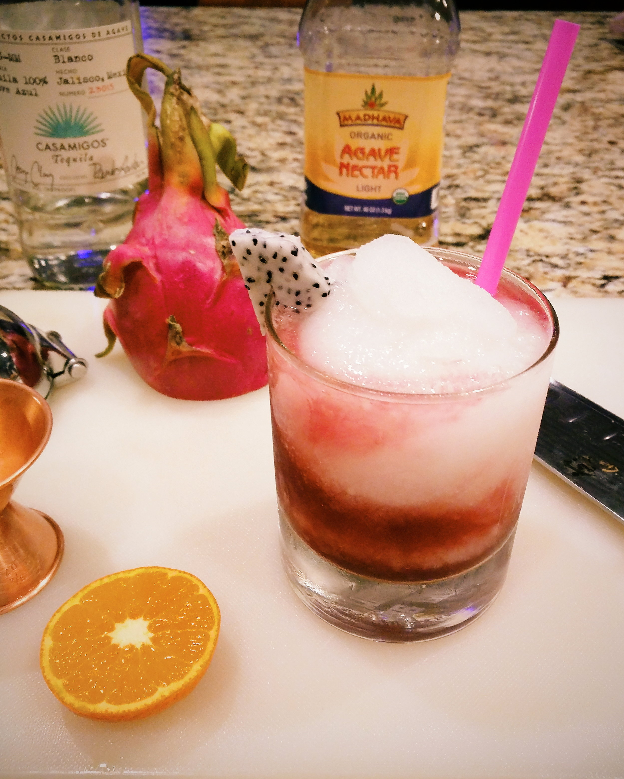 This one comes from The Whiskey Ice Co. Kitchen - The dragon fruit garnish does not come with the standard Mambo, but hey, it works.