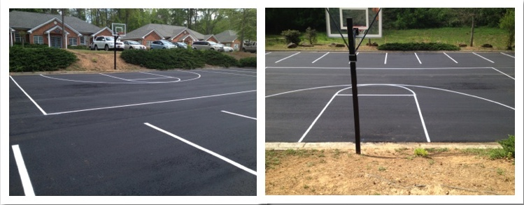 Custom basketball court incorporated into a new parking lot