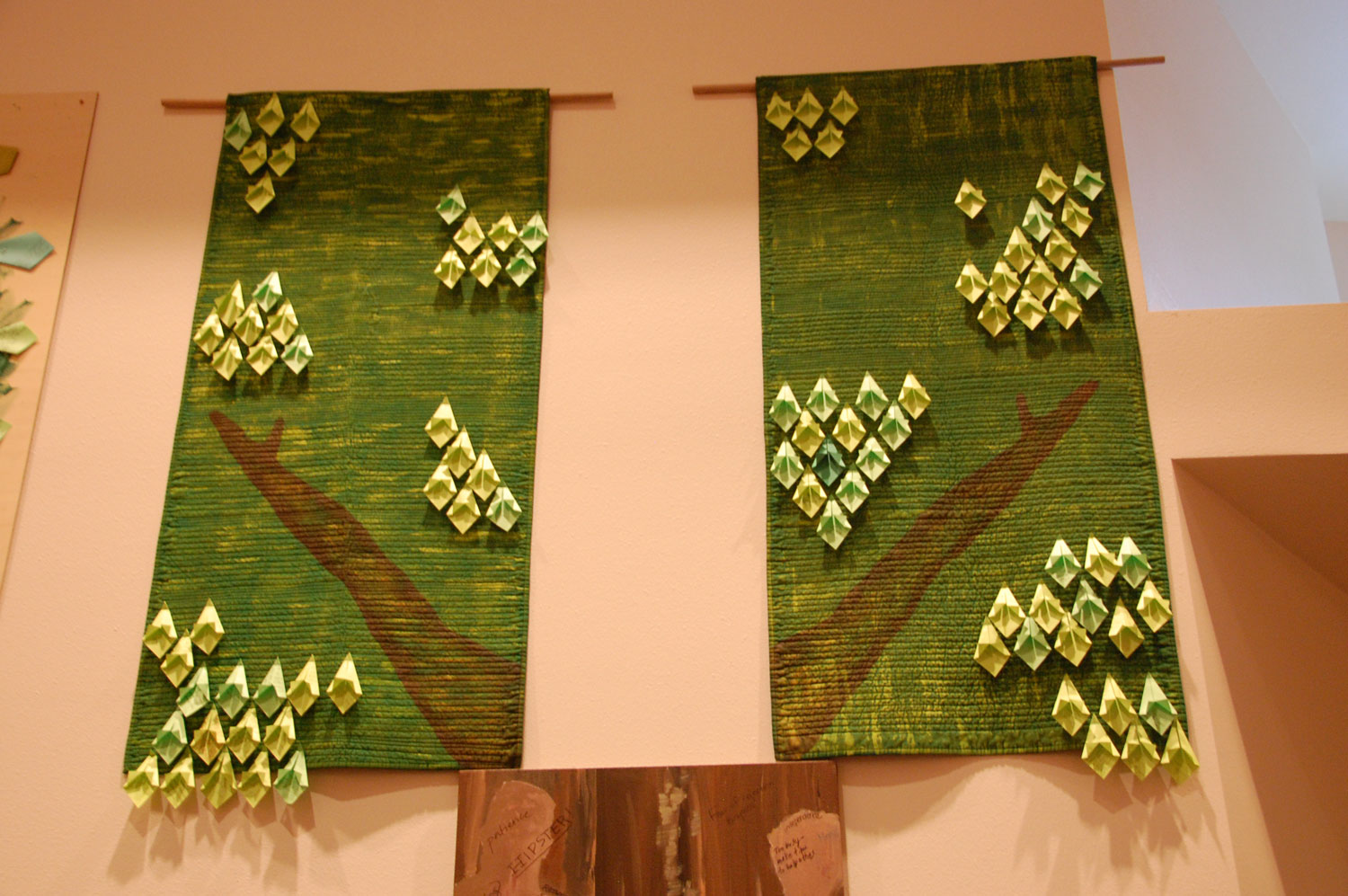 Michelle Winter's tree tops incorporated quilting in as symbols for comfort and safety.