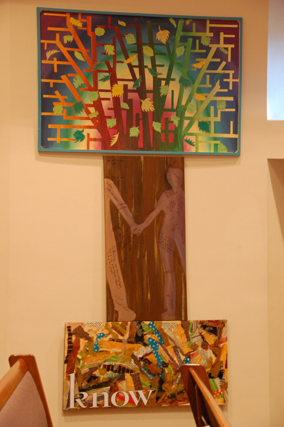Kathryn Boettcher's colorful tree top with a trunk from the Love sermon and a Faith collage turned horizontally.