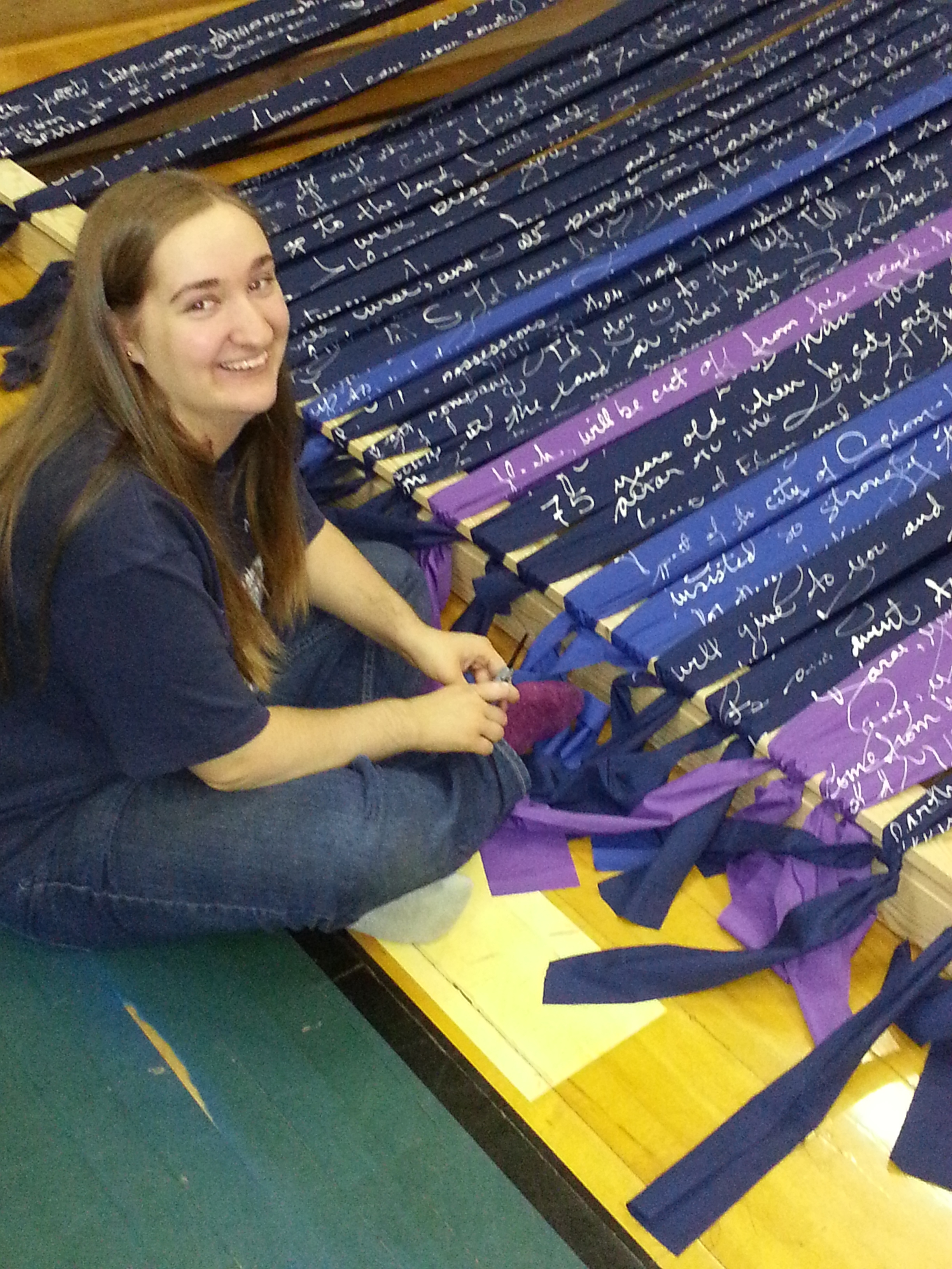 Sweet Olivia, my favorite art intern (don't tell the others), warping a loom.
