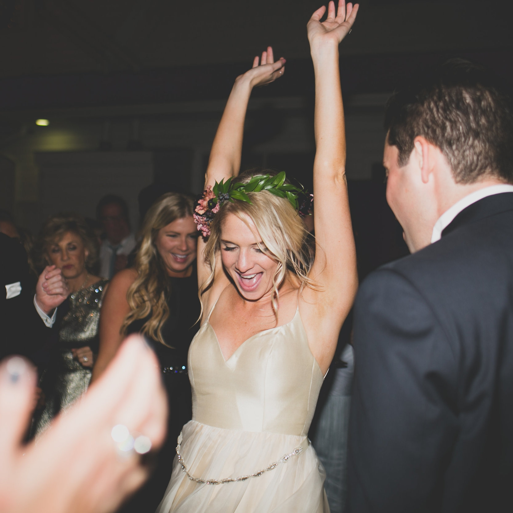 BRIDE DANCING HANDS UP