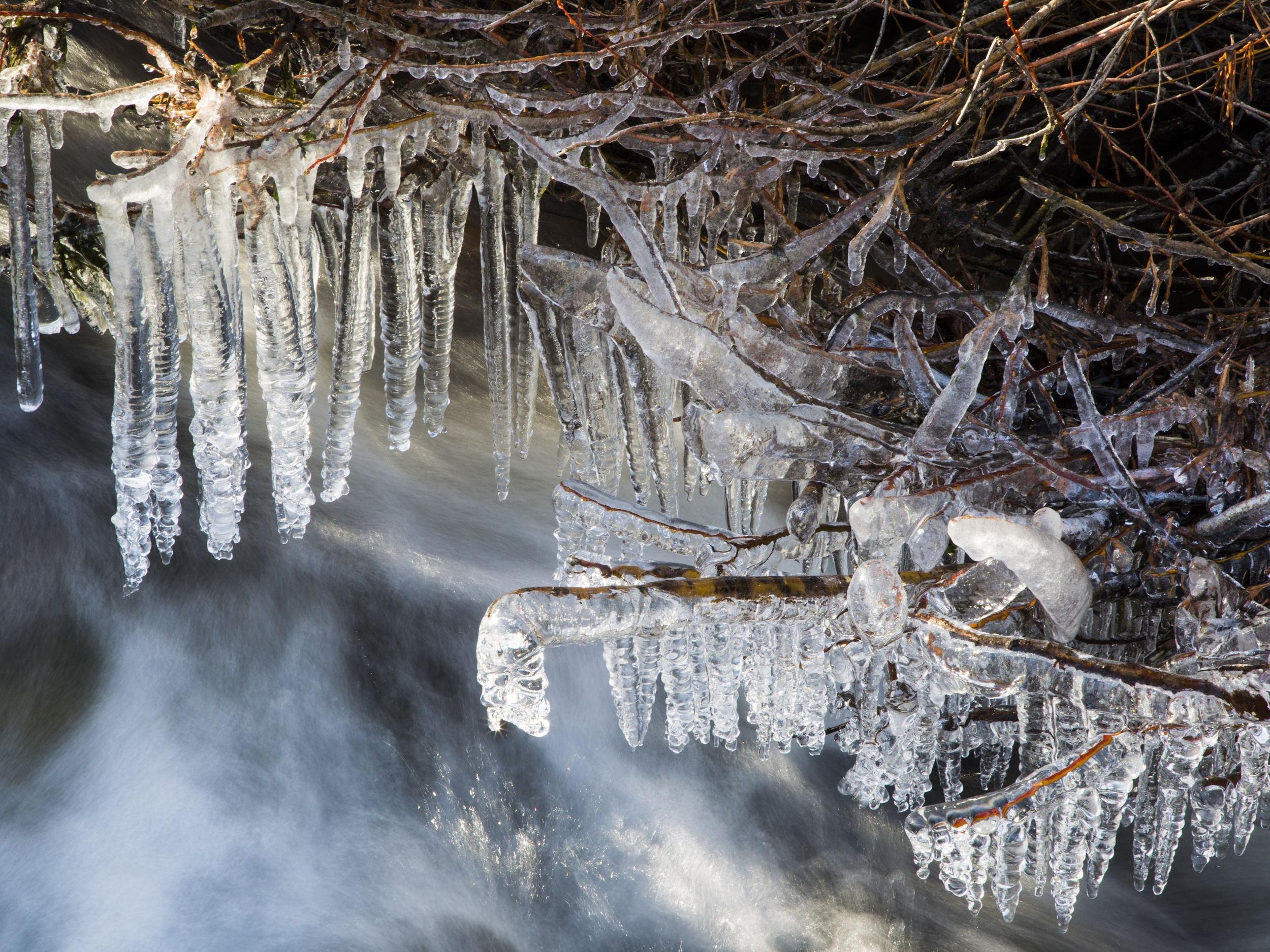 Icicles and Rushing Water, Serene Lakes CA