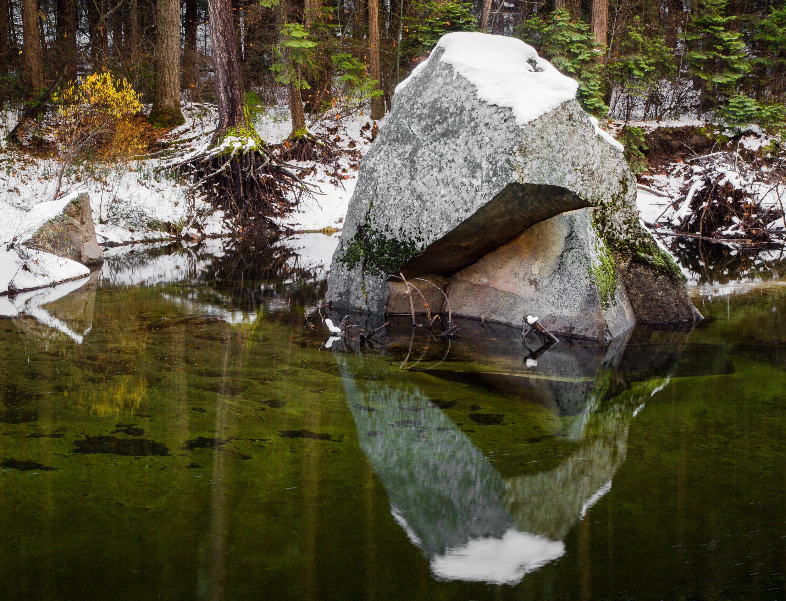 Rock, Merced River, Fall