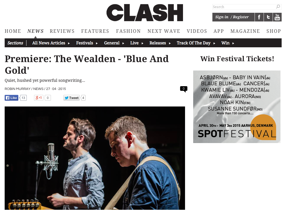 Clash magazine premiere The Wealden's Blue and Gold