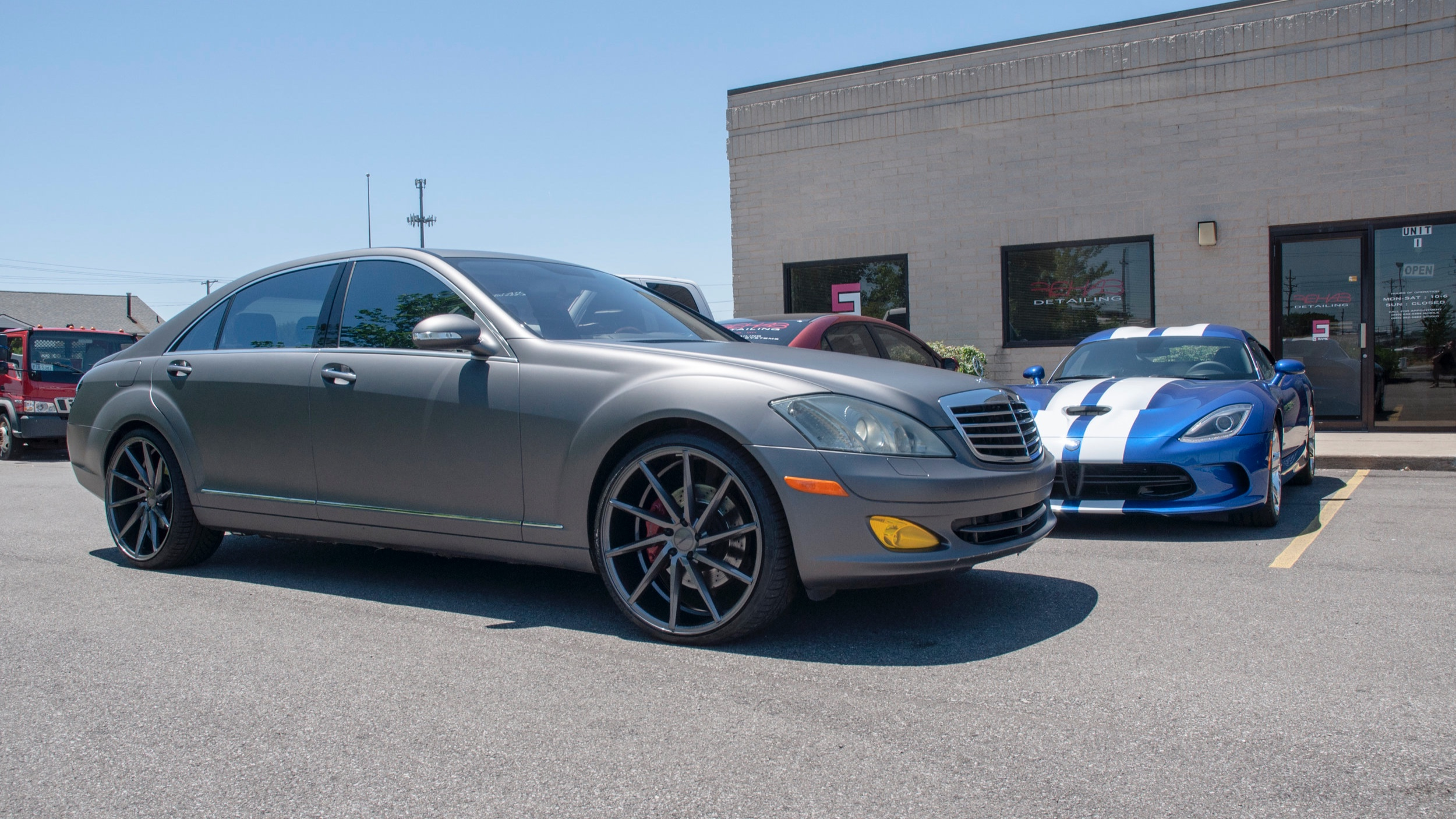 "Mercedes Benz S550 - Wrapped in Avery Charcoal Matte Metallic, 22"" Vossens, Ceramic Tint"