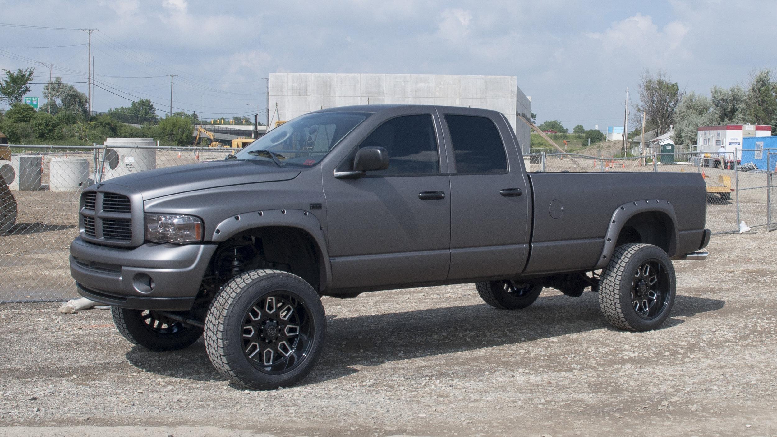 "Lifted Dodge Ram - Charcoal Matte Metallic, 22"" Black Rhino Wheels, 6"" Lift, Ceramic Tint"