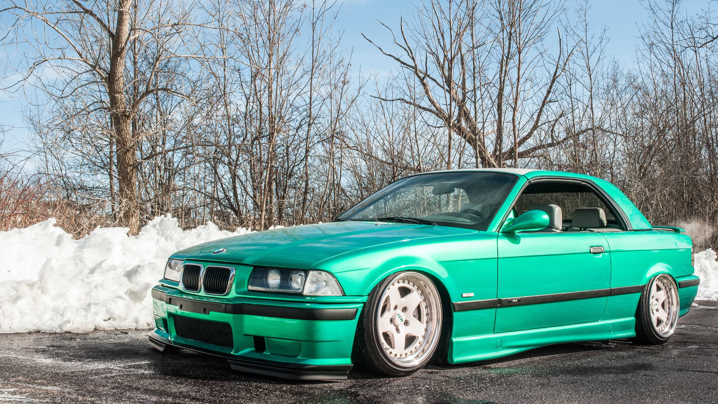 Supercharged and Bagged E36 BMW M3 - Envious Green, Satin White, 3 Piece CCW wheels Refinished, Ceramic Pro
