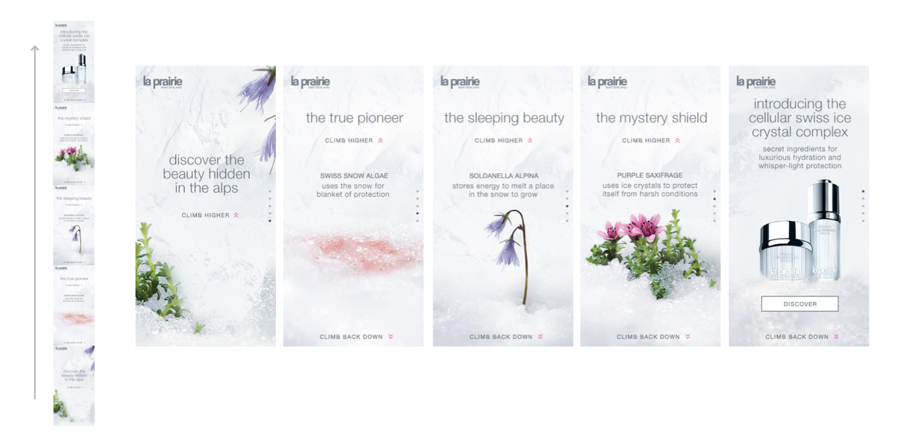 The La Prairie online advertising had a click-through rate over 3x the norm, driving demand and interest in a new generation of customers. The social campaign was highly commented shared and liked, accruing over 150,000 earned impressions.
