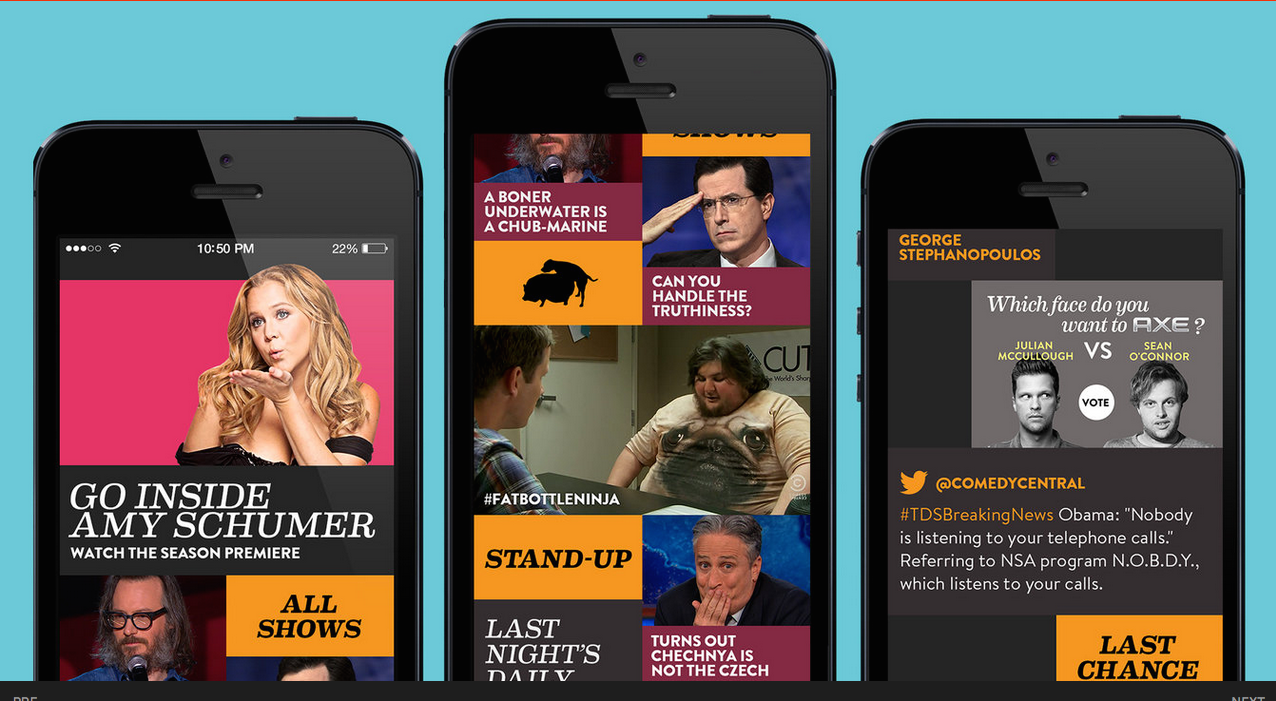 Working on Comedy Central's digital experiences was not only fun, but this iteration of the app was the #1 download in the iTunes store.