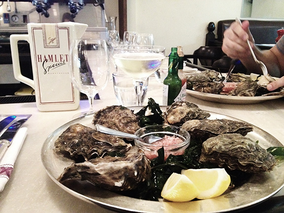 Dorset Oysters during happy hour at St. John Bread & Wine in London