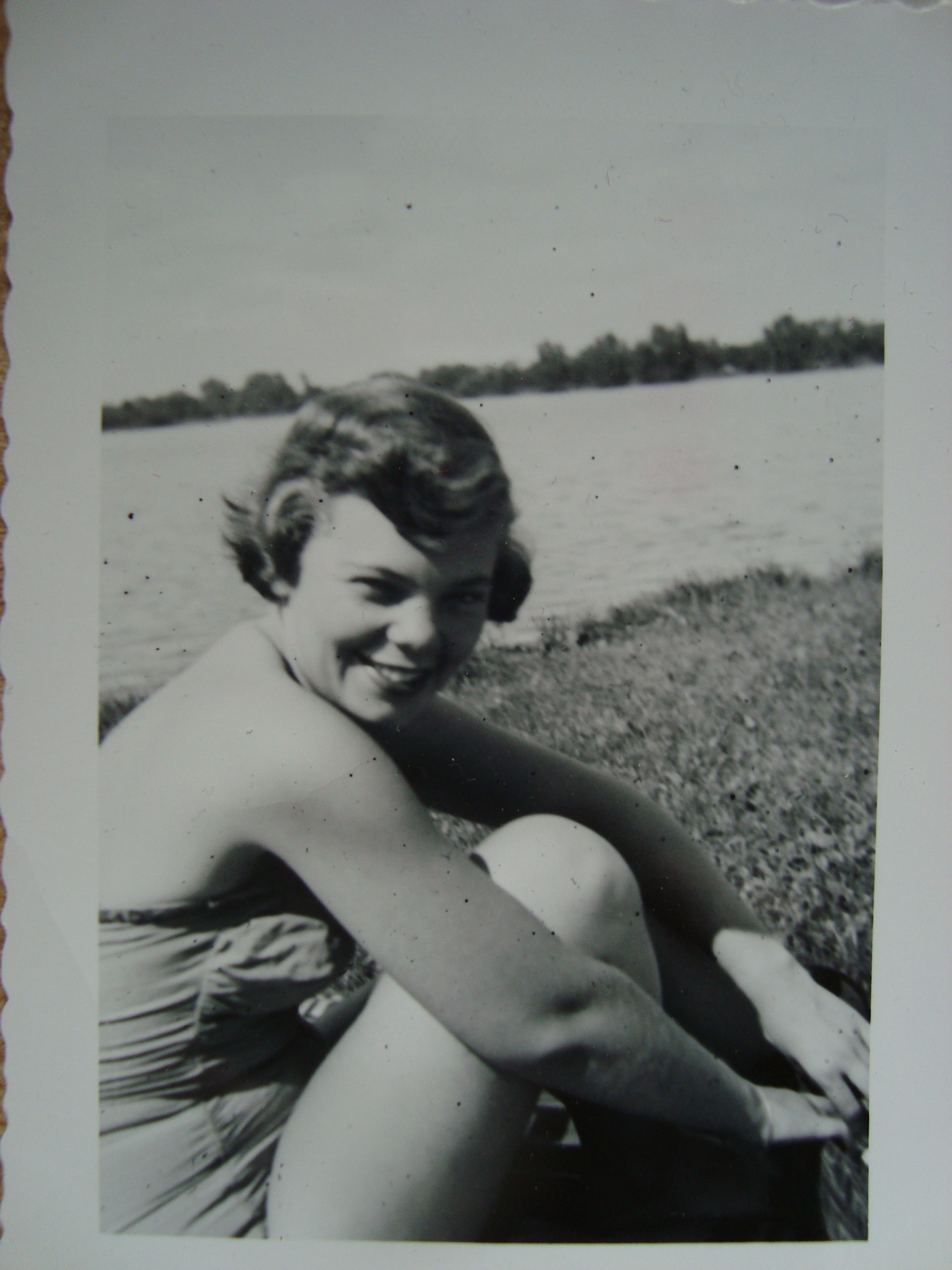 My mom having a good time by a lake in Minnesota in the early 1950s.