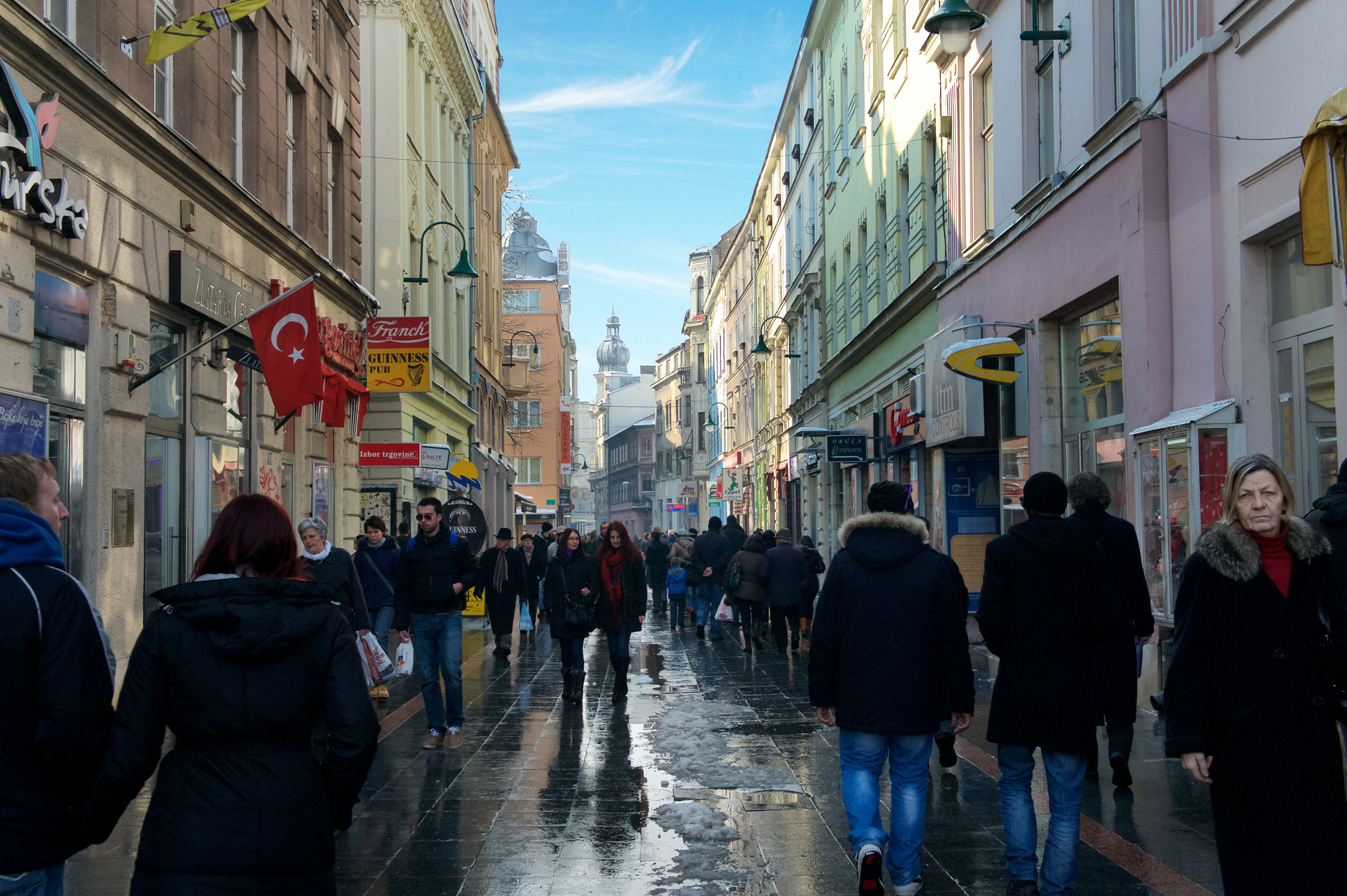 Ferhadija, Sarajevos main shopping and entertainment district.