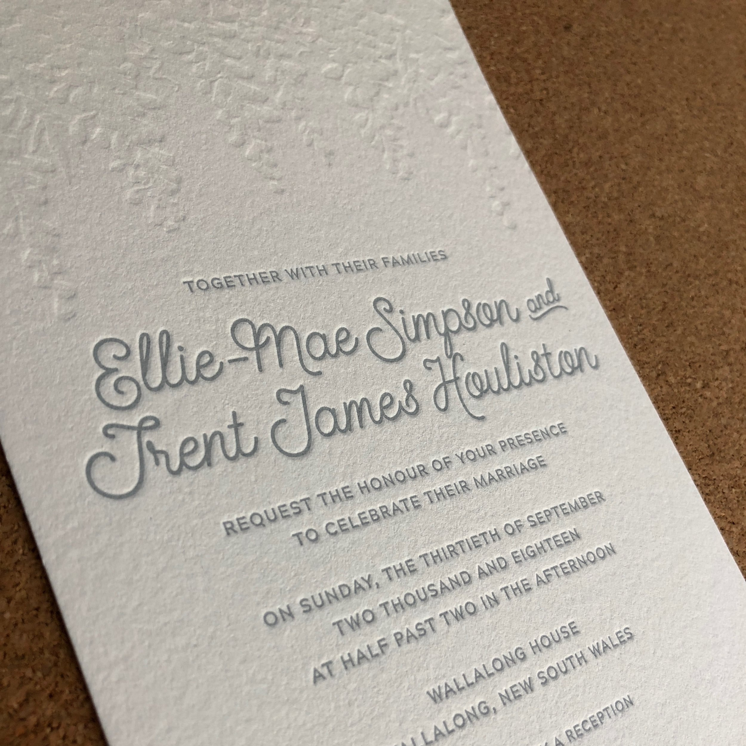 Wedding invitations – Ellie and Trent