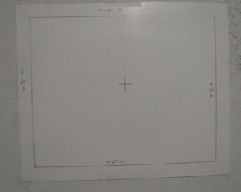 The knit ground fabric would be adhered to this template for tracing the projection.