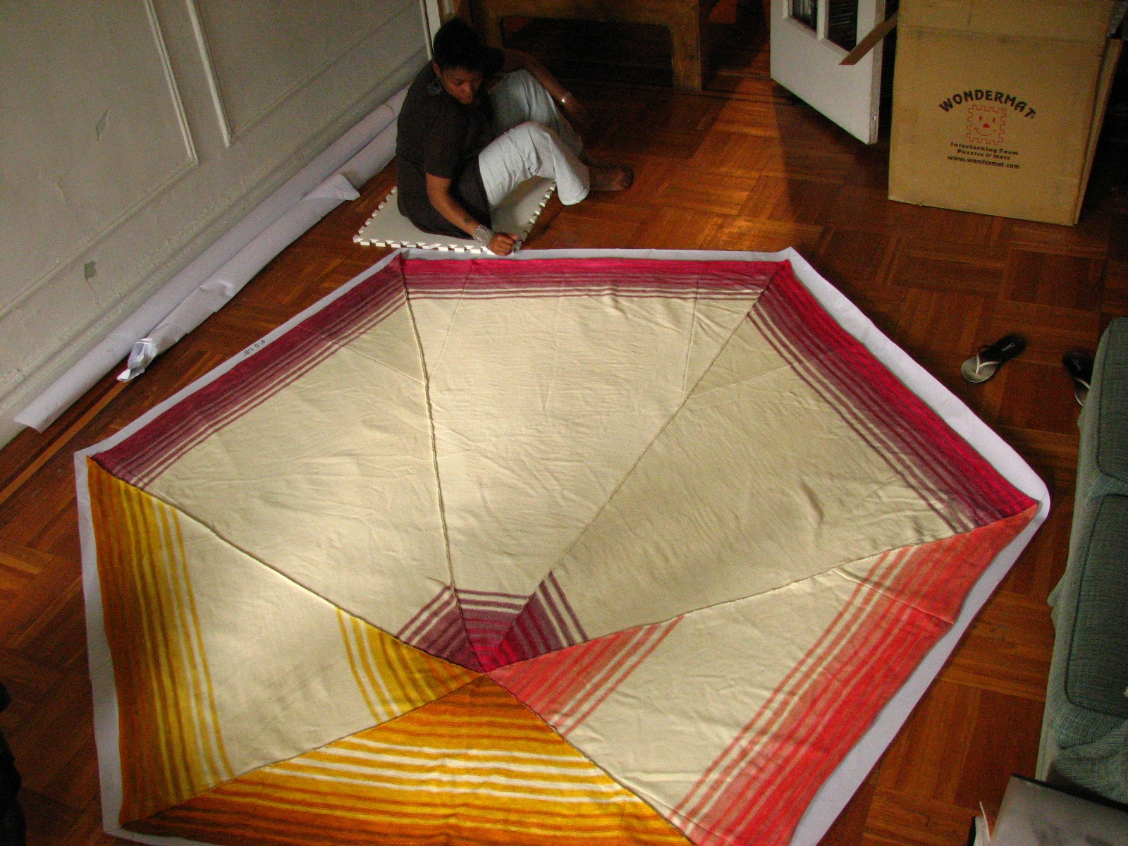 Hexagon #3 before final pressing, with Nicole sitting to show scale.