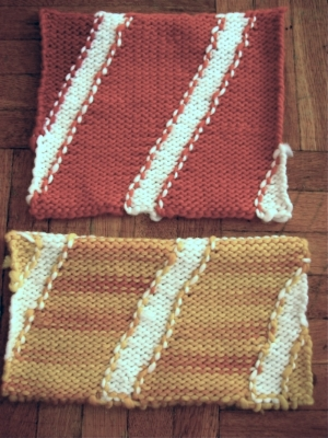 Test swatches,to insure the correct size of the finished rugs. The yarn for these works was from  Brown Sheep Company,  Nebraska.