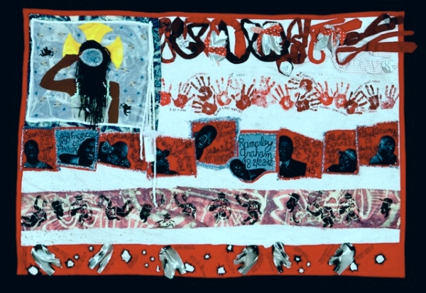 american Juju for the Tapestry Of Truth, 2015; Teresa Margoles: We Have A Common Thread; Neuberger Museum of Art, Purchase, N.Y.; Michelle Bishop, Sahara Briscoe, Laura Gadson, Jerry Gant